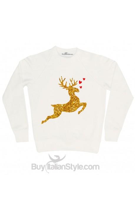 "Felpa Donna natalizia ""Renna in glitter oro"""
