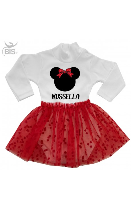 """Tutu Dress """"little mouse with glitter bow and name"""""""