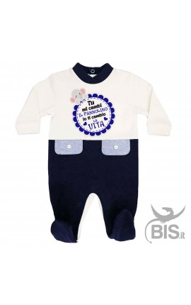 """Baby Boy two-coloured Romper """"5 minutes of dad, 9 months of mum and now so cute here I am"""""""