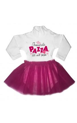 """abitino neonata con tulle fuxia """"Innamorata pazza del mio papà"""""""