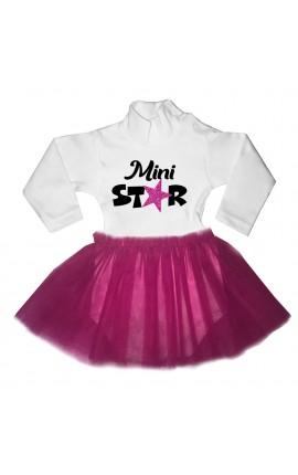 """Abitino neonata con tulle fuxia """"Mini star"""""""