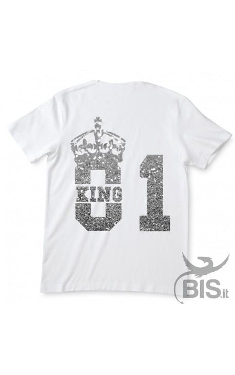"""T-shirt Uomo """"King 01"""" con stampa glitterata"""