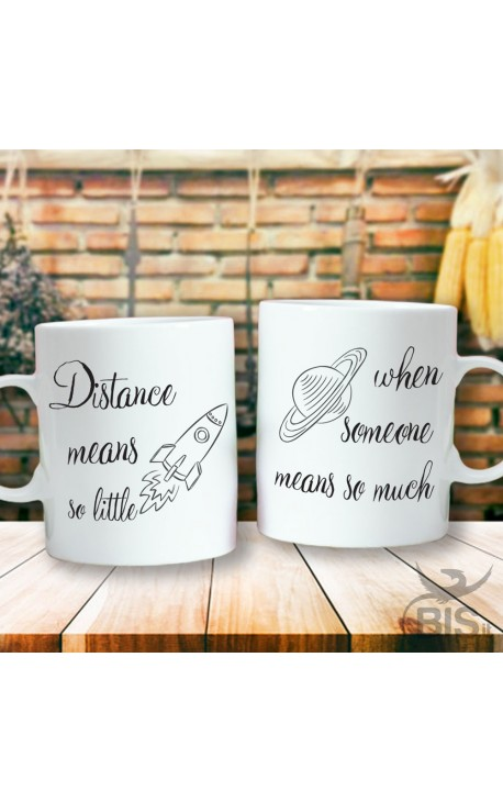 """Couples mug """"Distance means so little when someone means so much"""""""