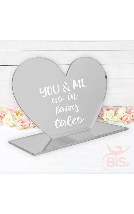 """Desk Plate Heart """"You & Me as in fairy tales"""""""