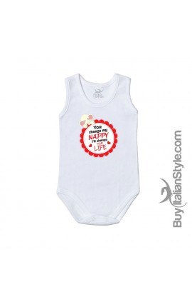 "Newborn baby bodysuit ""You change diaper I'll change your life"""