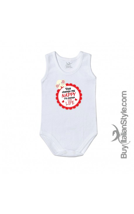 "Newborn baby bodysuit ""You change diaper I'll change your life"""