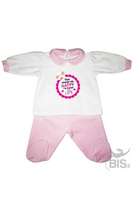 "Chenille baby set ""You change my diaper I'll change your life"""