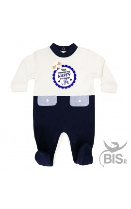 "Baby Boy two-coloured Romper ""You change my Nappy I'll change your Life"""