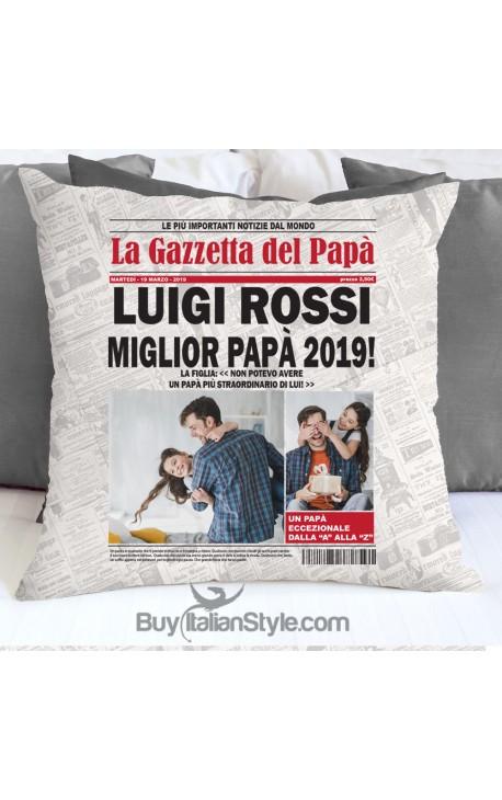 """Federa cuscino """"La Gazzetta del papà"""""""