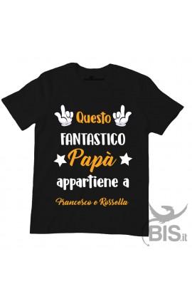 """T-shirt uomo da personalizzare """"Questo fantastico papà appartiene.."""""""