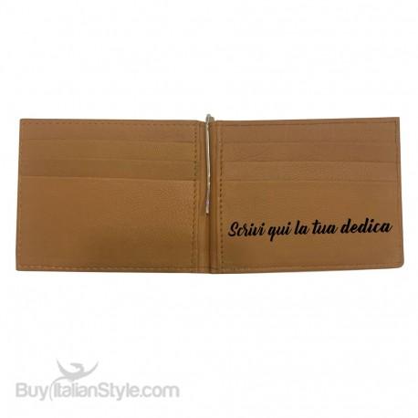 Portafogli con ferma soldi in vera pelle da personalizzare