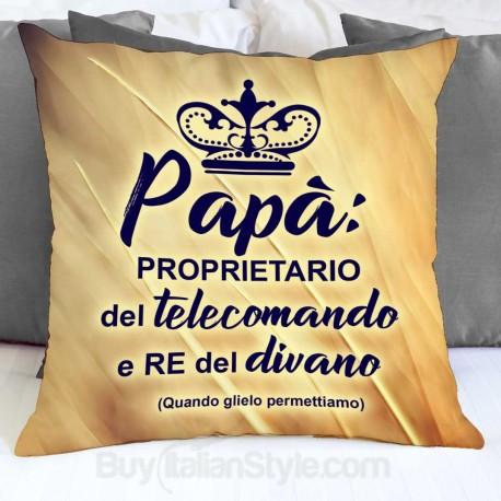 Federa cuscino papà re del divano proprietario del telecomando