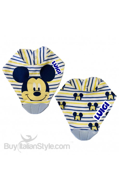 """Silicone Teething Baby Bib 2-Piece Set """"Mickey Mouse"""""""