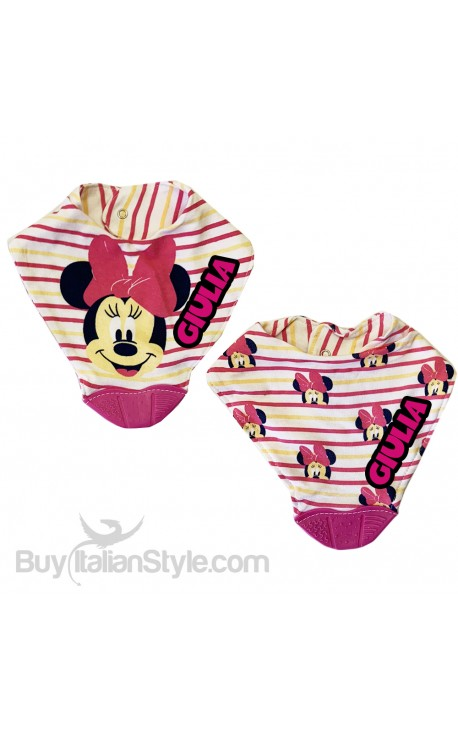 "Silicone Teething Baby Bib 2-Piece Set ""Minnie"""