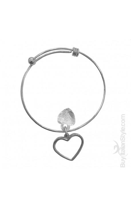 Handcuff Rigid Bracelet with charm