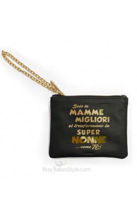 """Mini pochette in vera pelle """"Solo le mamme migliori si trasformano in SUPER MAMMA....come te"""""""