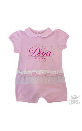 """Pagliaccetto neonata in pizzo """"Diva si nasce"""""""