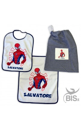 Kit asilo bimbo con Spiderman + nome