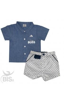 """Completo bimbo camicia e bermuda """"Mini boss"""""""