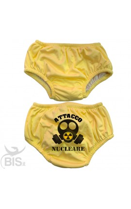 "Newborn absorbent swimsuit with print ""Nuclear attack""."