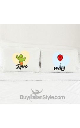 "Love Couples pillowcases ""Cactus and Balloon"""