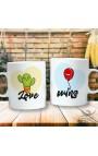 """Couples mug """"Cactus and Balloon"""""""