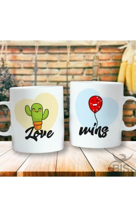 "Couples mug ""Cactus and Balloon"""