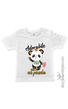 "T-shirt bimba manica corta ""Adorabile Panda"""