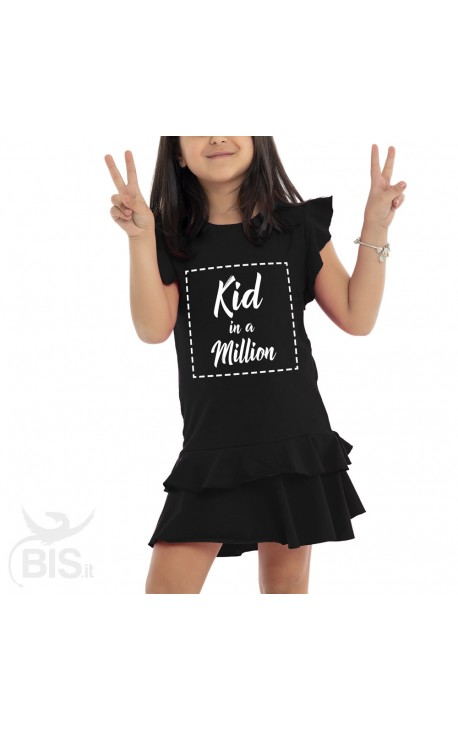 "Vestitino bimba con gonna a balze ""Kid in a million"""