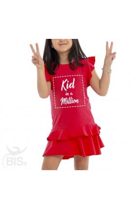 "Vestitino bimba con gonna a balze ""Kid in a million"""