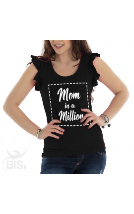 "Maglia donna con maniche ad alette ""Mom in a million"""