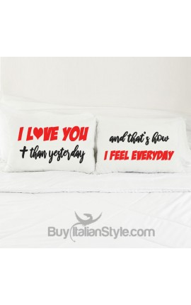 "Love Couples pillowcases ""Love you more..."""