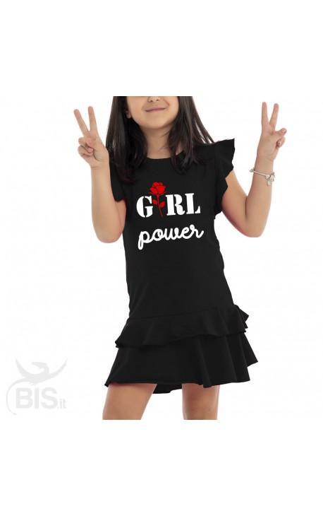 """Vestitino bimba con gonna a balze """"Girl power"""""""