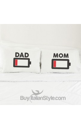 "Couples pillowcases ""Low Battery"""
