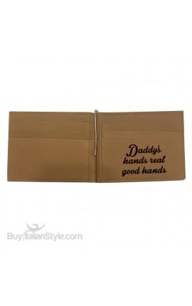 """Porta documenti in vera pelle """"Papà sei il mio eroe"""""""