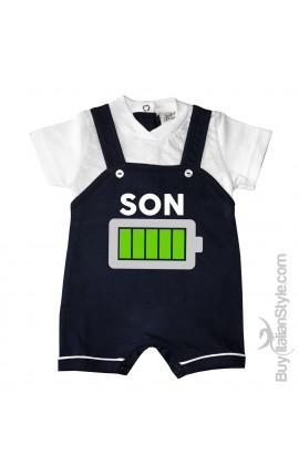 """Baby Boy Romper Overalls """"Daddy's hands..."""""""