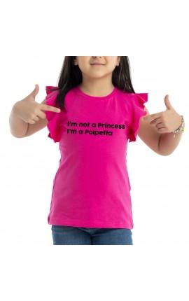 """T-shirt bimba con maniche ad alette """"I'm not princess I'm a polpetta"""""""