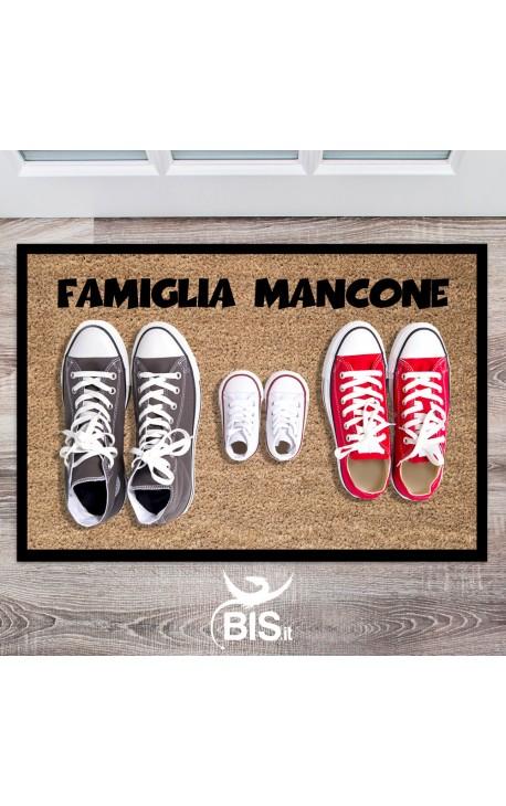 Zerbino/Tappeto da interni cognome e scarpe dei componenti della famiglia