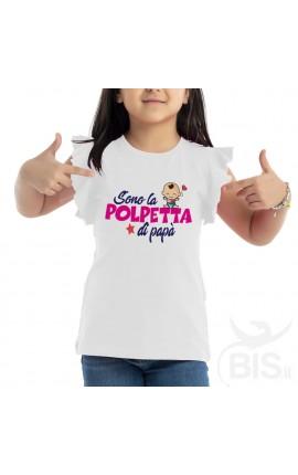 """T-shirt bimba con maniche ad alette """"Sono la polpetta di papà"""""""