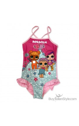 "Little Girl's One Piece Swimsuit ""LOL + name"""