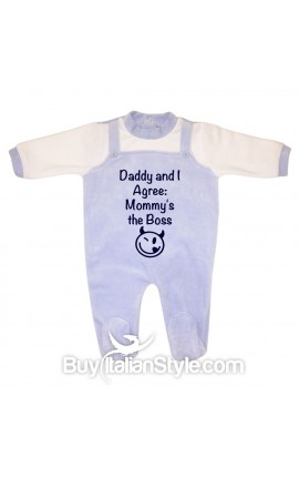 "Baby Overalls Romper ""Dad and I agree mom is the boss"""