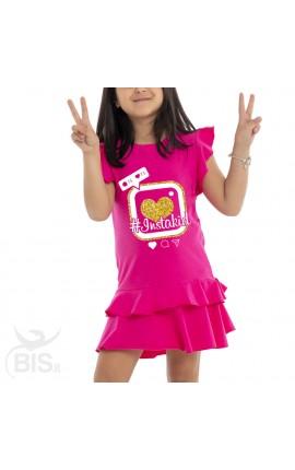 """Instakid"" little girl dress with flounced skirt"
