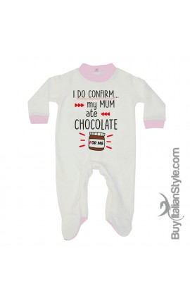 "Baby Romper ""I do confirm. My mum ate chocolate for me"""