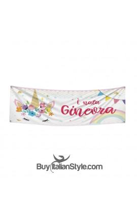 """Striscione a tema """"FLOWERS UNICORN"""" personalizzabile"""