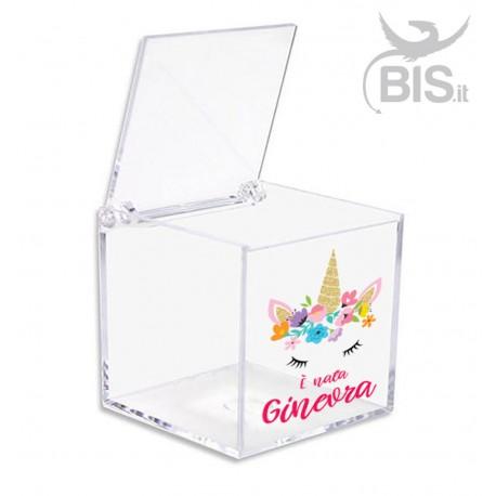 Porta confetti in plexiglass a tema unicorno