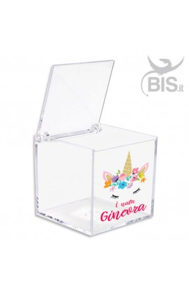 Kit 5 pieces Plexiglas Confetti Box, Unicorn themed