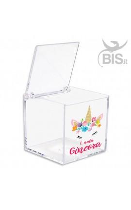 """Kit 5 pezzi Porta confetti in plexiglass a tema """"FLOWERS UNICORN"""""""