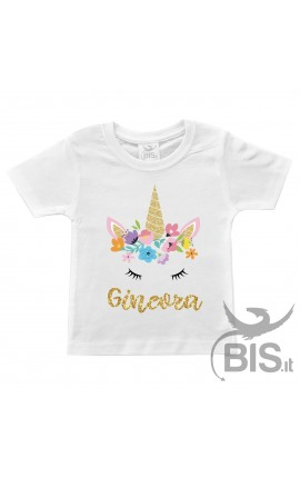 "T-shirt bimba compleanno a tema ""FLOWERS UNICORN"""