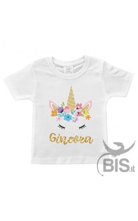 "T-shirt bimba compleanno a tema ""FLOWERS UNICORN"""