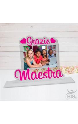 """Targhetta in plexiglass """"Grazie Maestra"""" da personalizzare con foto"""